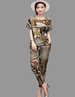 Dames Lente T-Shirt Pantalon Kostuums Ronde hals 3/4-Lengte Mouw Inelastisch