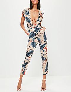 Feminino Vintage Boho Moda de Rua Cintura Alta Informal Bandagem Férias Macacão,Skinny Floral Floral Primavera Verão