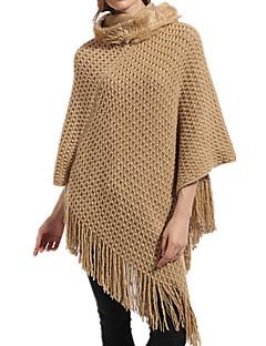 女性 春 秋 ウール アクリル 純色 長方形