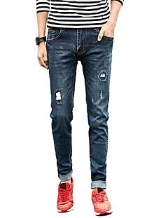Herren Einfach Mittlere Hüfthöhe Mikro-elastisch Eng Jeans Schlank Hose,Gefaltet Ripped Solide