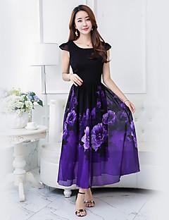 Damen Hülle Swing Kleid-Party Festtage Ausgehen Lässig/Alltäglich Retro Boho Street Schick Blumen Quadratischer Ausschnitt Midi Kurzarm