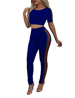 Dames Eenvoudig Street chic Lente Zomer T-Shirt Pantalon Kostuums,Sport Uitgaan Hardlopen Kleurenblok Eenvoudig Ronde hals Korte mouw