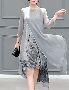 Women's Plus Size Going out Simple Sheath Dress,Print Round Neck Maxi 3/4 Length Sleeves Rayon Summer Mid Rise Inelastic Medium