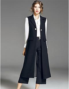 Feminino Colete Casual Simples Outono Inverno,Sólido Longo Poliéster Colarinho de Camisa Manga Longa