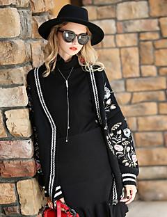 Damen Solide Retro Sport Ausgehen Lässig/Alltäglich Mantel,V-Ausschnitt Herbst Winter Lange Ärmel Lang Baumwolle Polyester Stickerei