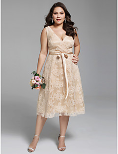 Linha A Decote V Longuette Renda Vestido de casamento com Caixilhos / Fitas de LAN TING BRIDE®