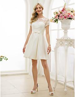 Linha A Ilusão Decote Até os Joelhos Renda Cetim Vestido de casamento com Laço(s) Caixilhos / Fitas de LAN TING BRIDE®