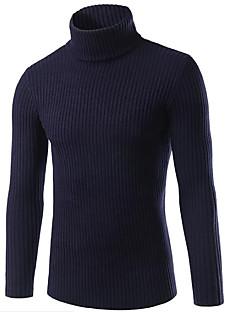 Normal Pullover Ut på byen Fritid/hverdag Gatemote Herre,Ensfarget Skjortekrage Langermet Rayon Polyester Høst Vinter Tykk Elastisk