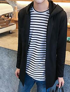 メンズ スポーツ 春 夏 コート,シンプル フード付き ソリッド ロング コットン 長袖 リボン