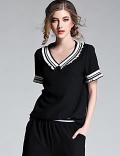 レディース お出かけ 夏 Tシャツ,キュート Vネック カラーブロック ポリエステル 半袖