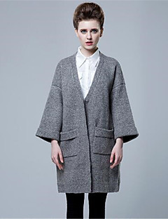 Damen Lang Strickjacke-Lässig/Alltäglich Einfach Solide V-Ausschnitt Langarm Wolle Kunst-Pelz Herbst Winter Dick Mikro-elastisch