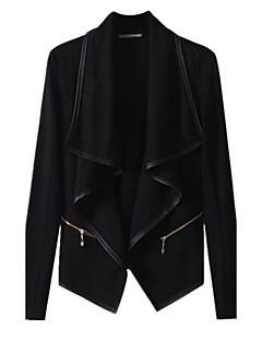 Damen Solide Einfach Lässig/Alltäglich Jacke,Peter Pan-Kragen Herbst Lange Ärmel Standard Baumwolle