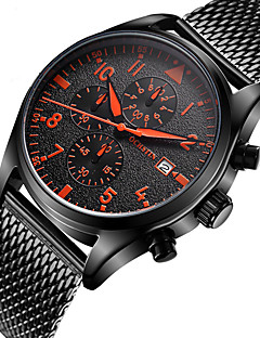 Homens Relógio Esportivo Relógio de Moda Relógio de Pulso Único Criativo relógio Relógio Casual Relógio Madeira Quartzo CalendárioAço