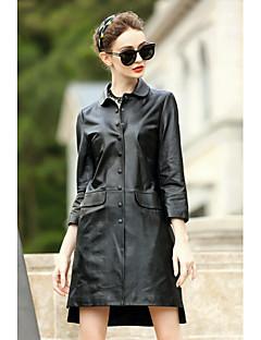 Damen Solide Einfach Lässig/Alltäglich Mantel,V-Ausschnitt Herbst Lange Ärmel Standard Wolle Baumwolle