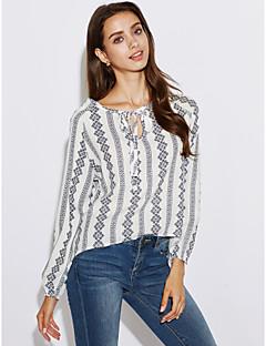 Majica Ženske,Vintage Izlasci Prugasti uzorak-Dugih rukava Kragna košulje Umjetna svila