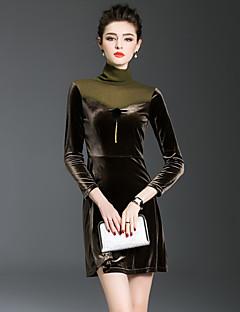 Kadın Dışarı Çıkma Sokak Şıklığı A Şekilli Elbise Solid Kırk Yama,Uzun Kollu Boğazlı Mini Pamuklu Polyester Sonbahar Normal Bel