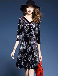 Kadın Parti Dışarı Çıkma Sokak Şıklığı A Şekilli Kılıf Elbise Desen,3/4 Kol V Yaka Diz-boyu Polyester Splandeks Sonbahar Normal Bel
