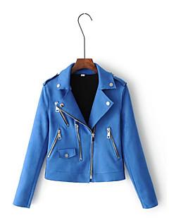 レディース カジュアル/普段着 お出かけ 春 秋 レザージャケット,シンプル ストリートファッション シャツカラー ソリッド レギュラー レザー 長袖