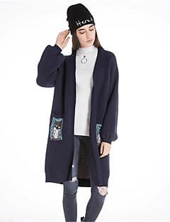 Damen Lang Strickjacke-Lässig/Alltäglich Einfach Solide Halter Langarm Wolle Baumwolle Polyester Herbst Winter 10D Mittel Mikro-elastisch