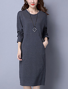 Damen Lose Kleid-Lässig/Alltäglich Übergröße Street Schick Solide Rundhalsausschnitt Midi Langarm Baumwolle Herbst Winter Mittlere