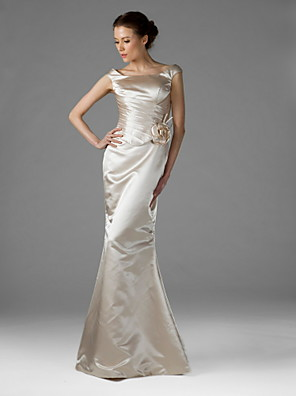 TS Couture® Wedding Party Dress - Elegant Plus Size / Petite Trumpet / Mermaid Square Floor-length Satin with Flower(s) / Side Draping