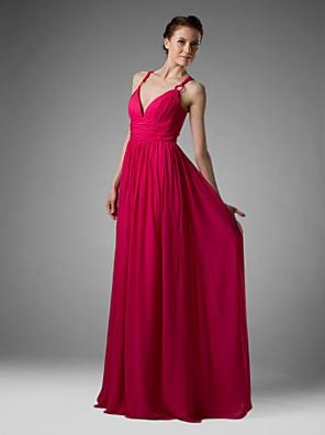 Lanting Bride® Longo Chiffon Vestido de Madrinha Tubinho Decote V / Com Alças Finas Tamanhos Grandes / Mignon comPregueado / Franzido /