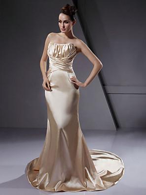 Lanting Bride® Mořská panna Drobná / Nadměrné velikosti Svatební šaty Barevné svatební šaty Velmi dlouhá vlečka Bez ramínekElastický
