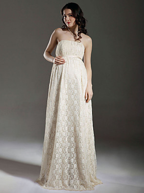 Lanting Bride Sheath/Column Maternity Wedding Dress-Floor-length Strapless Lace