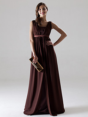 Floor-length Chiffon Bridesmaid Dress A-line V-neck Plus Size / Petite with Draping / Sash / Ribbon