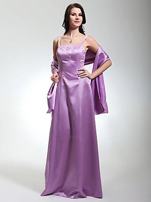 Lanting Bride® עד הריצפה סאטן שמלה לשושבינה - מעטפת \ עמוד רצועות ספגטי פלאס סייז (מידה גדולה) / פטיט עם חרוזים