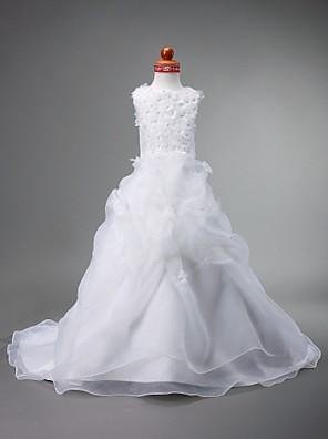 כלה לנטינג נשף שובל קורט שמלה לנערת הפרחים - אורגנזה / סאטן ללא שרוולים עם תכשיטים עם חרוזים / פרח(ים) / כיווצים למעלה