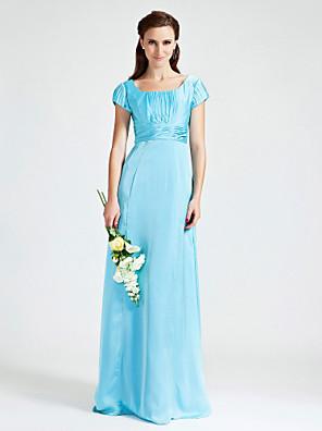 Lanting Bride® Longo Chiffon / Cetim Elástico Vestido de Madrinha Tubinho Decote em UMaçã / Ampulheta / Triângulo Invertido / Pêra /