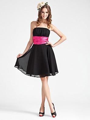 Mi-long Mousseline de soie Robe de Demoiselle d'Honneur  Trapèze / Princesse Sans Bretelles Grande Taille / Petite avecDrapée / Ceinture