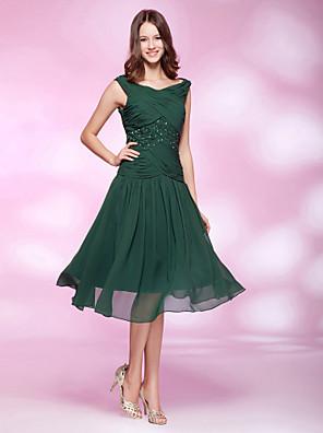 Cocktail / Per eventi / Ricevimento di matrimonio Vestito - Stile anni '20 Linea-A / Da principessa A barca Al ginocchio Chiffon con