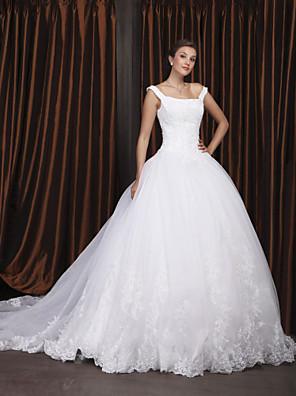 Lanting Bride® נשף קטן / מידה גדולה שמלת כלה - קלסי ונצחי / אלגנטי ויוקרתי בהשפעת וינטאג' שובל כנסייה (צ'אפל) מתחת לכתפיים אורגנזה עם