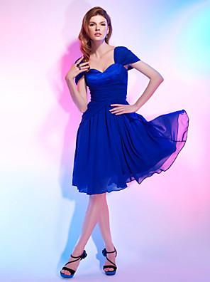 Fiesta de Cóctel Vestido - Elegante Corte en A / Princesa Hombros al Aire / Corazón Hasta la Rodilla Raso / Satén Estirado conRecogido /