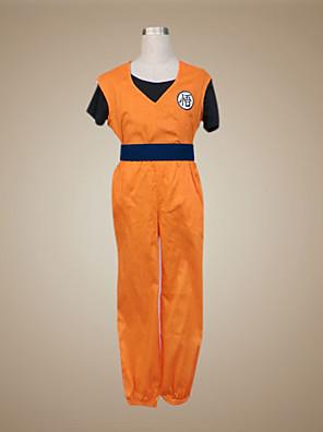 קיבל השראה מ Dragon Ball Son Goku אנימה תחפושות קוספליי חליפות קוספליי טלאים כתום קצר וסט / חולצת טי / מכנסיים / צמיד / חגורה
