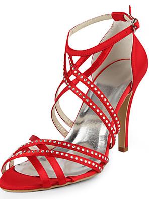 Women's Shoes Silk Spring / Summer / Fall Wedding Stiletto Heel Rhinestone / Buckle Black / Pink / Red / Ivory / White / Silver / Gold