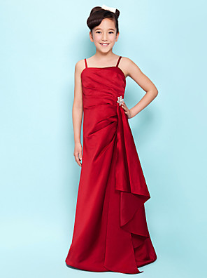 Lanting Bride® Longo Cetim Vestido de Daminha de Honra Linha A / Princesa Com Alças Finas Natural comDrapeado Lateral / Babados em