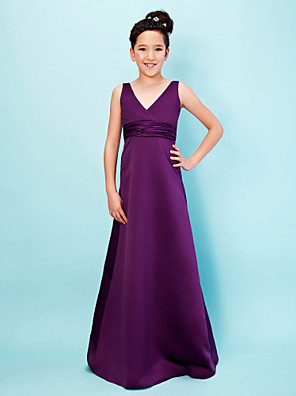 Floor-length Satin Junior Bridesmaid Dress A-line / Princess V-neck Empire with Sash / Ribbon / Ruching