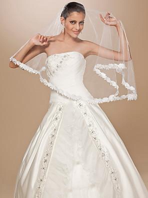 Véus de Noiva Uma Camada Véu Cotovelo Borda com aplicação de Renda 62,99 in (160cm) Tule Branco / Marfim / Vermelho / ChampagneLinha-A,