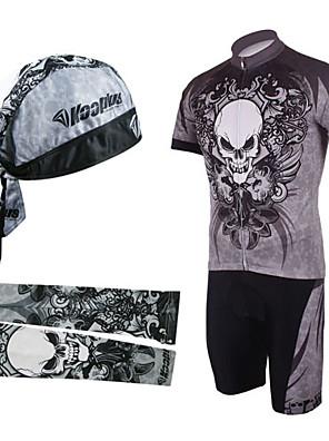 KOOPLUS® חולצת ג'רסי ומכנס קצר ביב לרכיבה לגברים שרוול קצר אופניים נושם / ייבוש מהיר / עמיד אולטרה סגול / רוכסן קדמימחממי זרוע / כובעים /