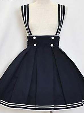 Knee-length Ink Blue Cotton Sailor Lolita Skirt