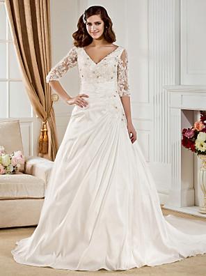 Lanting Bride® נשף קטן / מידה גדולה שמלת כלה - קלסי ונצחי שובל כנסייה (צ'אפל) צווארון וי טפטה עם