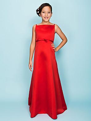 Lanting Bride® Na zem Satén Šaty pro malou družičku A-Linie / Princess Špagetová ramínka Přirozený s Mašle / Šerpa / Stuha