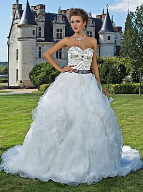 Lanting Bride® נשף קטן / מידה גדולה שמלת כלה - קלסי ונצחי ברק ונצנצים שובל קתדרלה מחשוף לב אורגנזה / סאטן עם