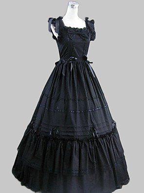 Uma-Peça/Vestidos Gótica Inspiração Vintage Cosplay Vestidos Lolita Preto Vintage Sem Mangas Comprimento Longo Vestido Para Feminino