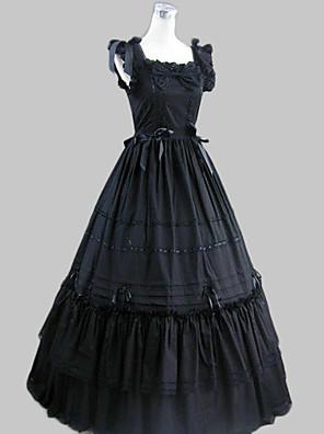 Jednodílné/Šaty Gothic Lolita Retro Cosplay Lolita šaty Černá Retro Bez rukávů Long Length Šaty Pro Dámské Bavlna