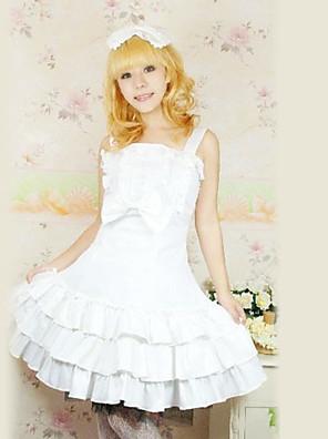 Mangas na altura do joelho de algodão branco vestido plissado Sweet Lolita