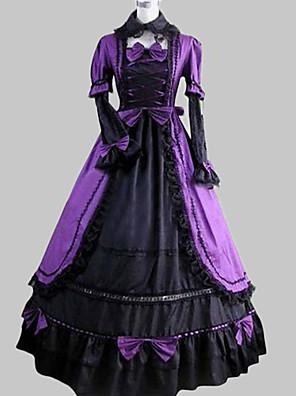Langermet Floor lengde Purple Satin Cotton Aristocrat Lolita Dress